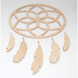 Lapač snů - vzor 2 (dřevěné polotovary na kreativní práce)