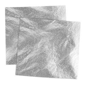 Metalické plátky imitace hliníku 14x14 cm / 100 listů (plátky na)
