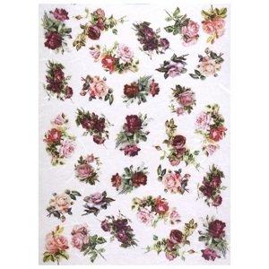 Rýžový papír A4 ITD - Růžičky (Rýžové papíry na dekupáž)