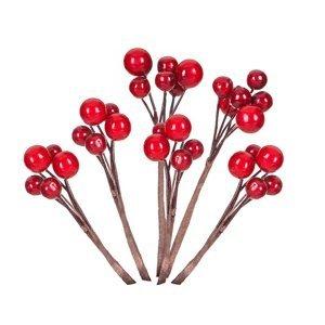 Ozdobná větvička s červenými bobulemi - 6 ks (Vánoční ozdoba)