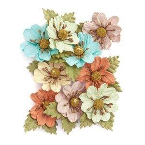 3D Papírové květy barevné / 9 dílná sada (Papírové květy na dekorování)
