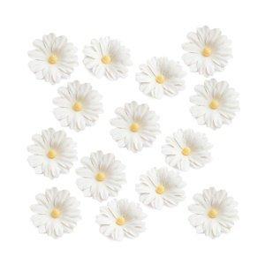 Papírové květy bílé - 14 ks (květy z papíru)
