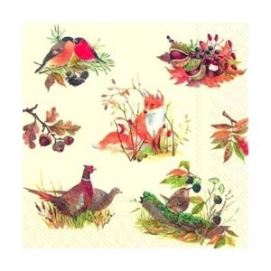 Eko ubrousky na dekupáž Autumn Wildlife - 1ks (ubrousky na dekupáž)