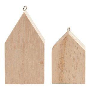 Dřevěný domeček na zavěšení 30 ks (závěsný domeček)