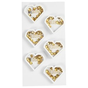 Svatební nálepky - srdíčka se zlatými flitry (dekorační nálepky)