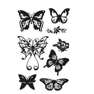 Transparentní razítka - motýli (silikonové razítka)