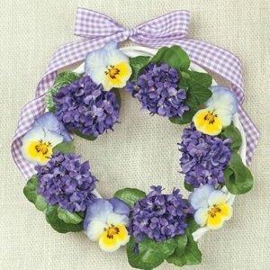 Ubrousky na dekupáž Violets Wreath - 1 ks (ubrousky na dekupáž)