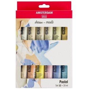 Sada akrylových barev AMSTERDAM dream and create Pastel 12 x 20 ml