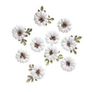 Papírové květy Shabby Chic bílé - sada 10 ks (dekorační papírové květiny)