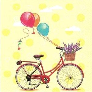 Ubrousky na dekupáž Bicycle with Balloons - 1 ks (ubrousky na dekupáž)