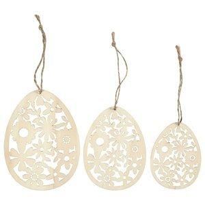 Dřevěné ornamenty - vajíčka 3 ks (velikonoční dekorace)