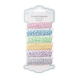Dvoubarevná bavlněná šňůrka DP Craft / sada 6 barev (dekorační šňůrka)