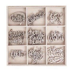 Sada dřevěných dekoračních ozdob - Slova / 45 kusů (dřevěné ozdoby)