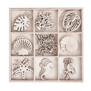 Sada dřevěných dekoračních ozdob - Moře / 45 kusů (dřevěné ozdoby)