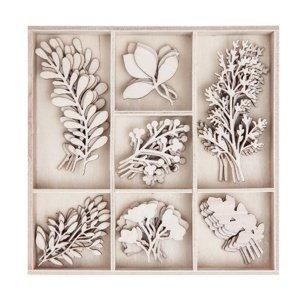 Sada dřevěných dekoračních ozdob - Větvičky / 35 kusů (dřevěné ozdoby)
