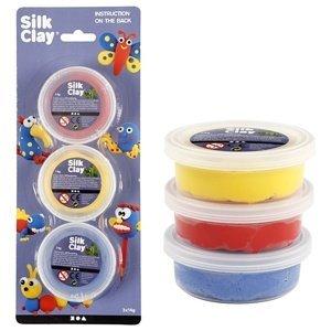 Modelovací hmota Silk Clay - žlutá - modrá - červená (samotvrdnoucí)