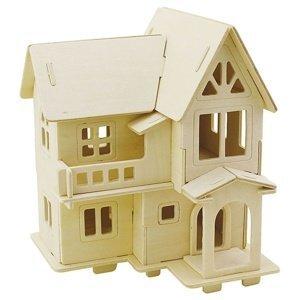 Domeček s lodžií - 3D stavebnice (puzzle - dřevěný dům)