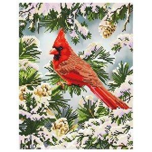 Diamantový obraz - Kardinál červený v zimě 35.5 x 45.5 (diamantové)