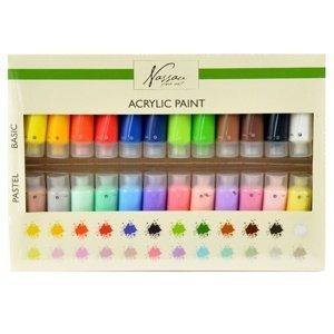 Akrylová sada 24 x 22 ml - základní a pastelové barvy (malování akrylem)