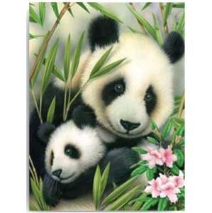 Kreativní set na malování - Panda s mláďátkem  (sada na malování podle)