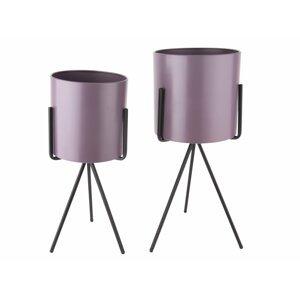 PRESENT TIME Stojan na květináč Pedestal XL – fialová /set 2 ks