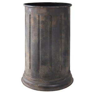 Plechový černý stojan na děštníky s patinou - Ø 35*85 cm