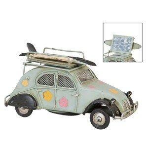 Kovový retro model auta s fotorámečkem a pokladničkou - 16*7*11 cm / 5*4 cm