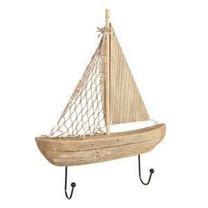 Nástěnný dřevěný vešák na bundy ve tvaru loďky - 22*5*27 cm