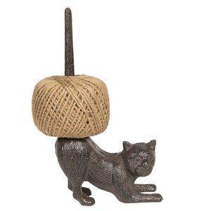 Litinový držák s provázkem Kočka - 12*5*22 cm