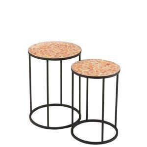 2ks kovový černý stolek s mozaikou Shard orange - ∅ 35,5*49 cm