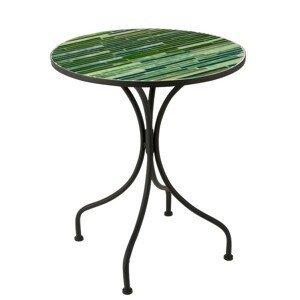 Kovový černý kulatý stolek s mozaikou Lines - ∅ 61*71 cm
