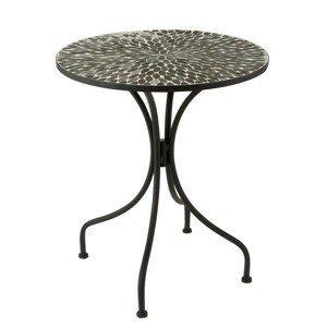 Kovový černý kulatý stůl s mozaikou Art - 61*61*71 cm