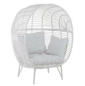 Bílé ratanové zahradní křeslo Oval -117*110*151 cm