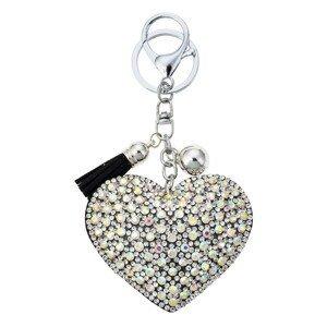 Přívěšek na klíče stříbrné srdce s kamínky