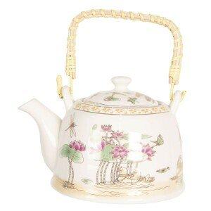 Konvice na čaj s motivem leknínů - 18*14*12 cm / 0,8L