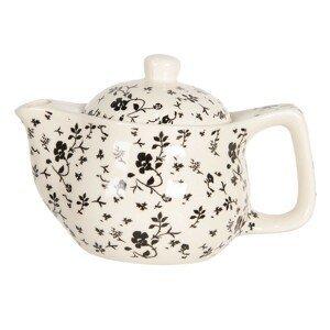 Konvička na čaj s drobnými černými květy - Ø 16*11 cm / 0,4L
