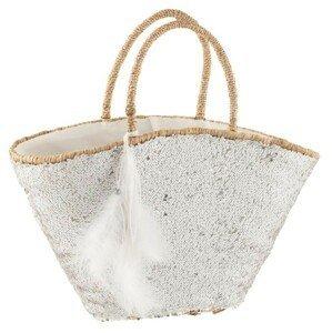 Bílá plážová taška s flitry a peříčky Sequins - 50*27*30cm