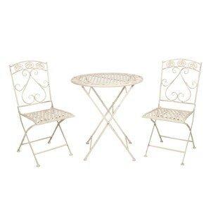 Kovový zahradní set Garren se dvěma židlemi – Ø 70*76 cm / 39*48*91 cm