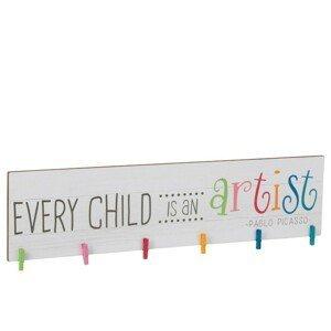 Dětský dřevěný věšák s nápisem Every child is an artist - 100*3,1*27,5 cm