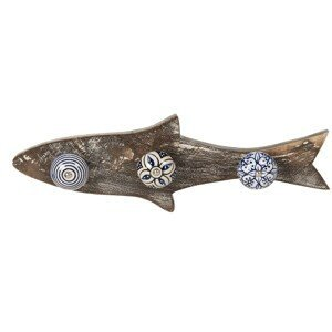 Dřevěný věšák s barevnými knopkami ve tvaru ryby - 33*5*10 cm