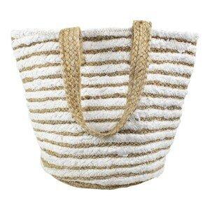 Jutová / bavlněná plážová taška  bílá / přírodní - 50*35*20cm