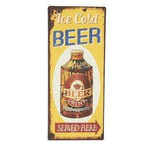 Kovová žluto hnědá cedule Ice Cold Beer s uměle vytvořenou rzí - 13*30 cm
