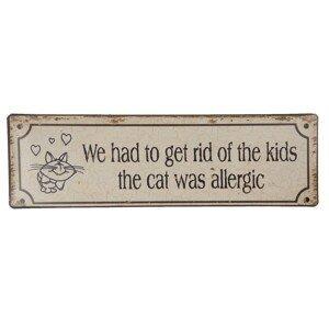 Kovová středně velká cedule s vtipným textem Cat a uměle vytvořeným odřením  - 30*9 cm