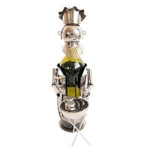 Kovový držák na víno v designu kuchaře s grilem Chevalier - 16*12*21 cm