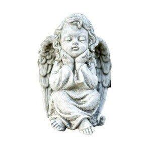 Zahradní betonová dekorace sedící anděl - 15*16*21cm