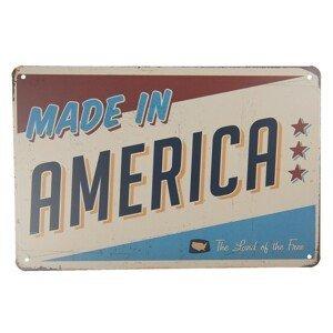 Středně velká kovová barevná cedule MADE IN AMERICA- 30*20 cm