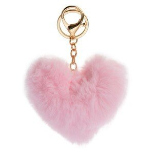 Přívěsek na klíče chlupaté růžové srdce - 10*9cm