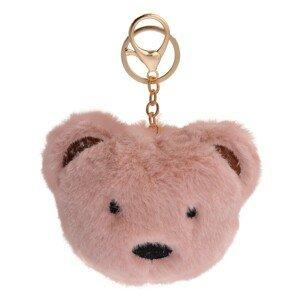 Přívěšek na klíče růžový chlupatý medvídek