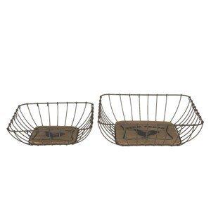 Set 2 košíků Filaire Farm Fresh - 30*30*9 / 25*25*7 cm