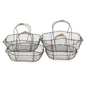 Set 4 drátěných košíků s uchy Filaire - 38*28*15*36 / 34*23*32 / 31*20*27 / 27*17*24 cm